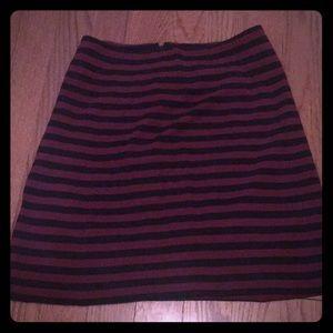 Dark red and black striped skirt